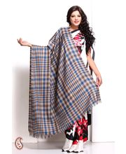 Blue And Silver Gerry Plaid Soft Pashmina Shawl (Multicolor)
