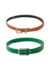 SkyWays Leatherette Belt For Women, Green And Oran...