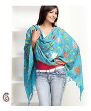 Embroidered Turquoise Pure Wool Stole (Blue)