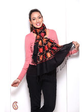 Hand Embroidery Pashmina Stole In Black,Orange And Red
