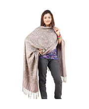 Weaved Hand Embroidered Reversible Scarve Stole- 121, Green