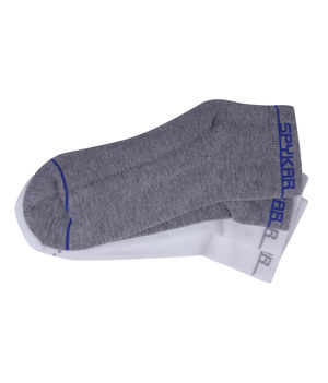 Ankle Length Socks (Set of 2), 22 cm,  white/grey melange