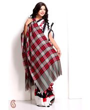 Tartan Design Pashmina Shawl In Red, Orange And Grey (Multicolor)