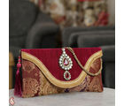 Red Banaras Tissue Envelope Clutch With Tassels (Red)