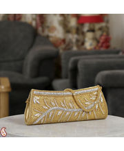 Gold And Silver Sequinned Boat Clutch (Yellow)