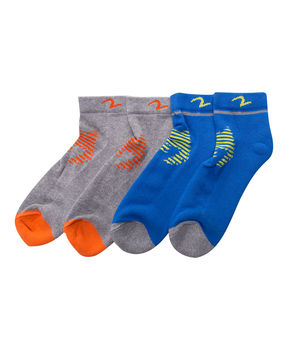 Ankle Length Socks (Set Of 2),  grey/blue, 22 cm