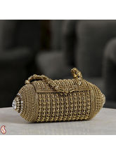 Mini Metallic Barrel Clutch Bag With Stone Work (Gold)