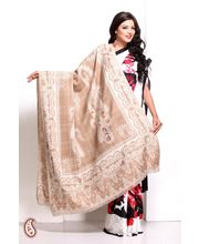 Camel Brown Keri Motifs Soft Pashmina Embroidered Shawl (Brown)