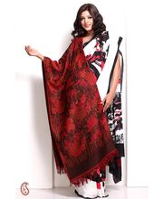 Roses And Floral Bunches Fringe Hemline Woven Pashmina Shawl (Red)