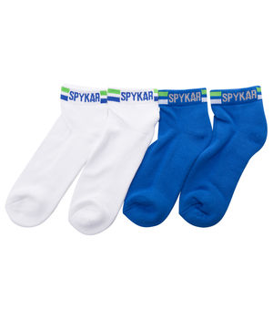 Ankle Length Socks (Set Of 2),  white/blue, 22 cm