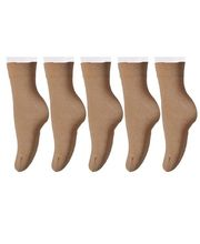 Lux Socks Ladies Woolen Cotton Set Of 5, fawn