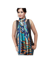 Ghasitaram Gifts Ethnic Blue Printed Scarf, Multic...