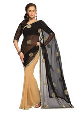 Deep Beige And Black Faux Georgette Saree With Unstitched Blouse - 1468