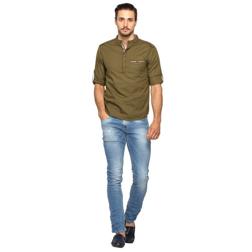 Solid Stand Collar Slim Fit Shirt, m,  olive