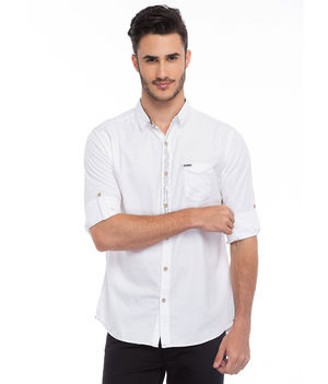 Printed Regular Slim Fit Shirt, xxl,  white