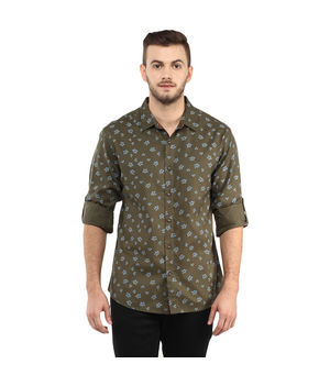 Printed Regular Slim Fit Shirt, m,  olive green