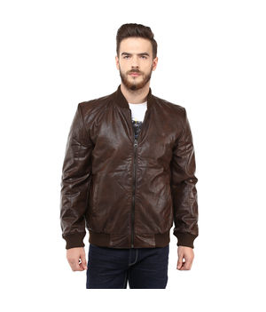 Regular Solid Jacket, l,  brown
