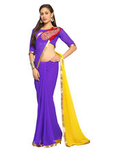 Purple Faux Georgette Saree With Unstitched Blouse - 1503