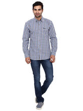 Wrangler Cotton Y/D Checks Casual Shirts, royal blue, l