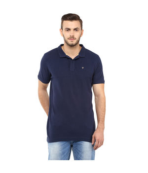Solid Polo T-Shirt, s,  navy blue