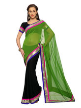 Black And Green Faux Georgette Saree With Unstitched Blouse - 1458