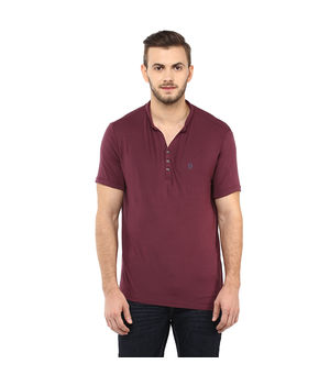 Solid Stand Collar T Shirt, l,  maroon