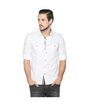 Solid Regular Slim Fit Shirt, xxl,  white