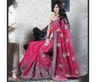 Women Georgette Pink Saree (Pink)