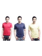 Crosscreek Round Neck Basic T-Shirt (3 Pc Combo) - 810002, Multicolor, M