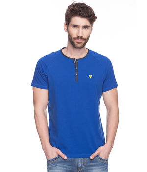 Printed Round Neck T-Shirt, xl,  royal blue