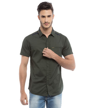 Solid Regular Slim Fit Shirt, s,  olive green