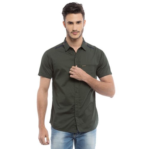 Solid Regular Slim Fit Shirt,  olive green, s