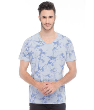 Printed V-Neck T-Shirt, s,  blue
