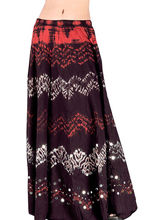 Ethnic Tie N Dye Dark Maroon Long Cotton Skirt 207 (Maroon)