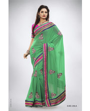 Heavy Jardosi Work Border With Elegant Crystal Work Saree - 235_ A, Green
