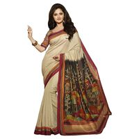 Vamika Bhagalpuri silk Saree, cream
