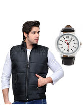 Sleeveless Black Jacket with Lotto Watch, black, 38