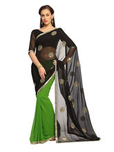 Black And Green Faux Georgette Saree With Unstitched Blouse - 1457