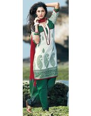 Green & White Embroidery Kurta Churidar