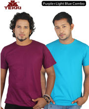 Tekki Purple Light Blue T Shirt Combo TKI161