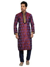 Emuze Colo Printed Kurta Pajama Set For Men, 42, maroon