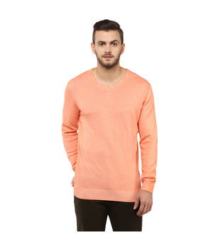 Solid V Neck T-Shirt, s,  orange
