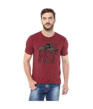Printed Round Neck T-Shirt, xl,  maroon