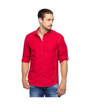 Solid Slim Fit Shirt, m,  red