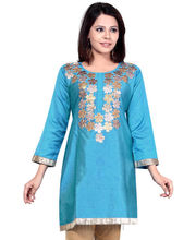 Blue With Golden Flowers Kurti