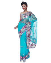 Fav Diva Net Computerize Embellished Work Saree, multicolor