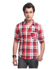 Yepme Brett Check Shirt -YPMSHRT0307, Red, 42
