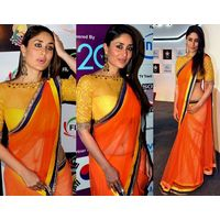 Karina Kapoor_ Manish Malhotra orange colour net saree by Vamika, orange