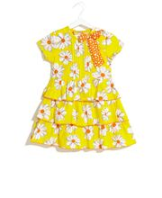 UFO Summer Floral Tiered Ruffle Dress, orange, l