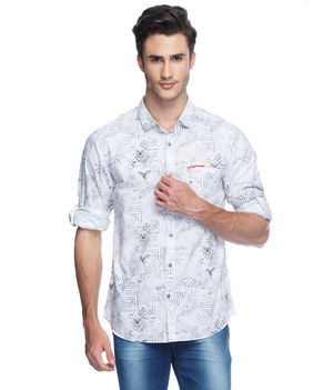 Printed Regular Slim Fit Shirt, l,  white